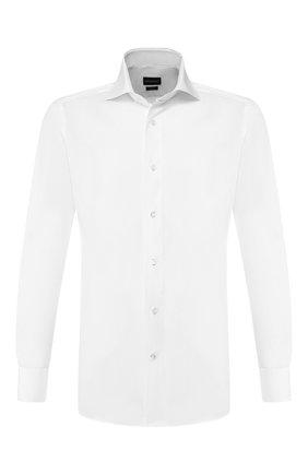 Мужская хлопковая сорочка ERMENEGILDO ZEGNA белого цвета, арт. 701032/9MS0BA | Фото 1