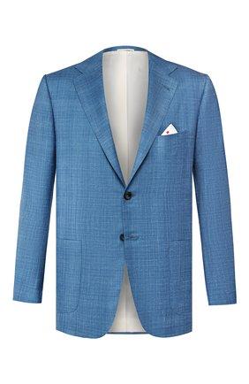Мужской пиджак из смеси кашемира и шелка KITON синего цвета, арт. UG81K06S18 | Фото 1