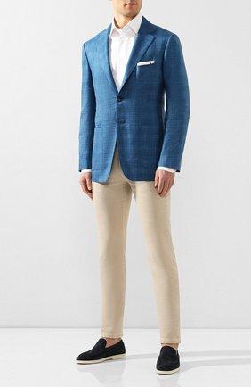 Мужской пиджак из смеси кашемира и шелка KITON синего цвета, арт. UG81K06S18 | Фото 2