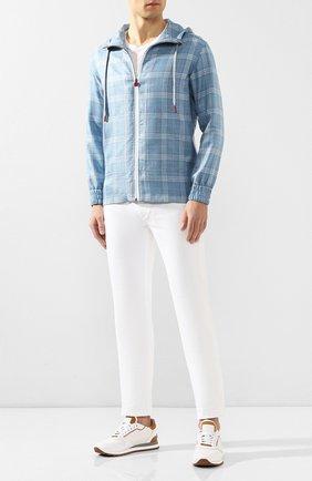 Мужская куртка из смеси кашемира и шелка KITON голубого цвета, арт. UMC010K06S2111   Фото 2