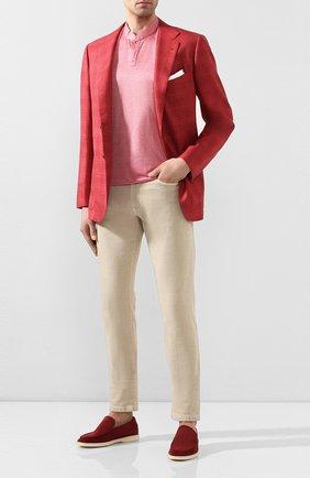 Мужская хлопковая футболка KITON красного цвета, арт. UMCCAPH07217 | Фото 2 (Мужское Кросс-КТ: Футболка-одежда; Рукава: Короткие; Материал внешний: Хлопок; Принт: Без принта; Длина (для топов): Стандартные; Стили: Кэжуэл)
