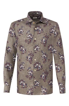 Мужская льняная рубашка KITON серого цвета, арт. UMCNERH0721512 | Фото 1