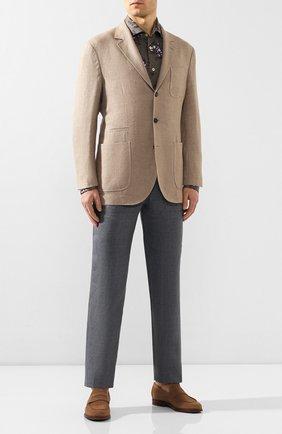 Мужская льняная рубашка KITON серого цвета, арт. UMCNERH0721512 | Фото 2