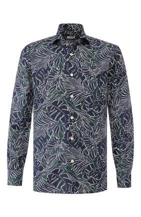 Мужская хлопковая рубашка KITON темно-синего цвета, арт. UMCNERH0721802 | Фото 1