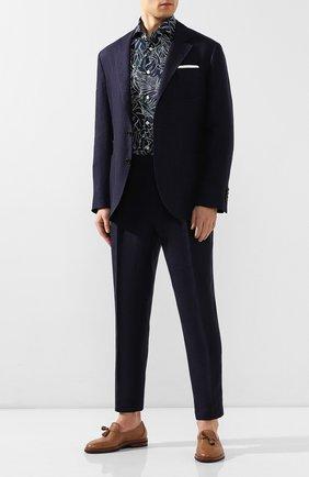 Мужская хлопковая рубашка KITON темно-синего цвета, арт. UMCNERH0721802 | Фото 2