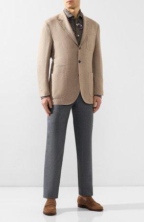 Мужской льняные брюки BRIONI серого цвета, арт. RPMJ0M/P6114/NEW JAMAICA | Фото 2