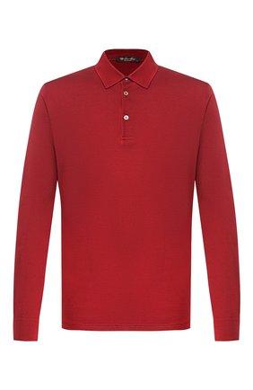 Мужское поло из смеси шелка и хлопка LORO PIANA красного цвета, арт. FAI1316 | Фото 1