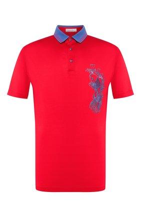Мужское хлопковое поло ZILLI красного цвета, арт. MFT-02801-56014/PB01   Фото 1 (Рукава: Короткие; Материал внешний: Хлопок; Застежка: Пуговицы; Длина (для топов): Стандартные)