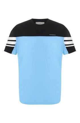 Мужская хлопковая футболка GIVENCHY голубого цвета, арт. BM70UD3002   Фото 1