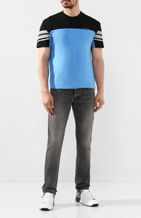 Мужская хлопковая футболка GIVENCHY голубого цвета, арт. BM70UD3002   Фото 2