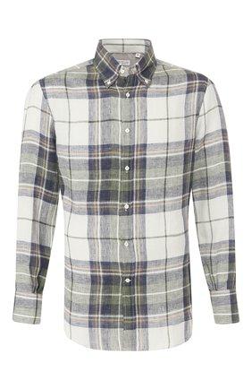 Мужская льняная рубашка BRUNELLO CUCINELLI темно-зеленого цвета, арт. MW6140038 | Фото 1