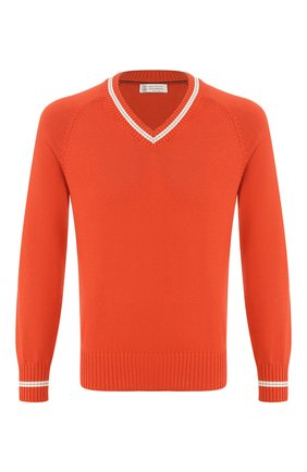 Мужской хлопковый пуловер BRUNELLO CUCINELLI оранжевого цвета, арт. M28701602 | Фото 1
