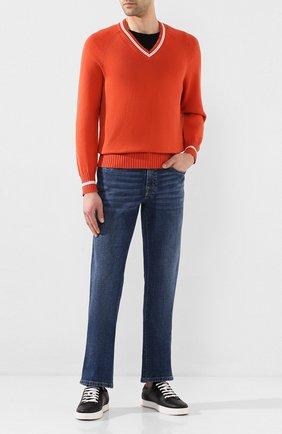 Мужской хлопковый пуловер BRUNELLO CUCINELLI оранжевого цвета, арт. M28701602 | Фото 2