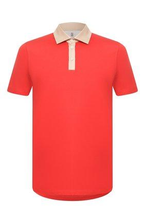 Мужское хлопковое поло BRUNELLO CUCINELLI красного цвета, арт. M0T618343 | Фото 1
