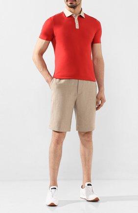 Мужское хлопковое поло BRUNELLO CUCINELLI красного цвета, арт. M0T618343 | Фото 2