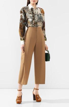 Женские шерстяные брюки CHLOÉ коричневого цвета, арт. CHC20SPA21060 | Фото 2