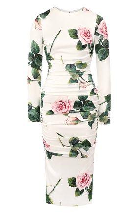 Женское шелковое платье DOLCE & GABBANA белого цвета, арт. F6B8GT/FSAZE | Фото 1