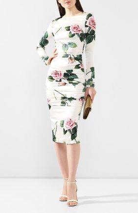 Женское шелковое платье DOLCE & GABBANA белого цвета, арт. F6B8GT/FSAZE | Фото 2