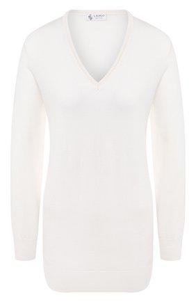 Женский пуловер из смеси кашемира и шелка IL BORGO CASHMERE белого цвета, арт. 51-542G0 | Фото 1 (Статус проверки: Проверена категория; Рукава: Длинные; Материал внешний: Шерсть, Кашемир, Шелк; Длина (для топов): Стандартные; Женское Кросс-КТ: Пуловер-одежда)