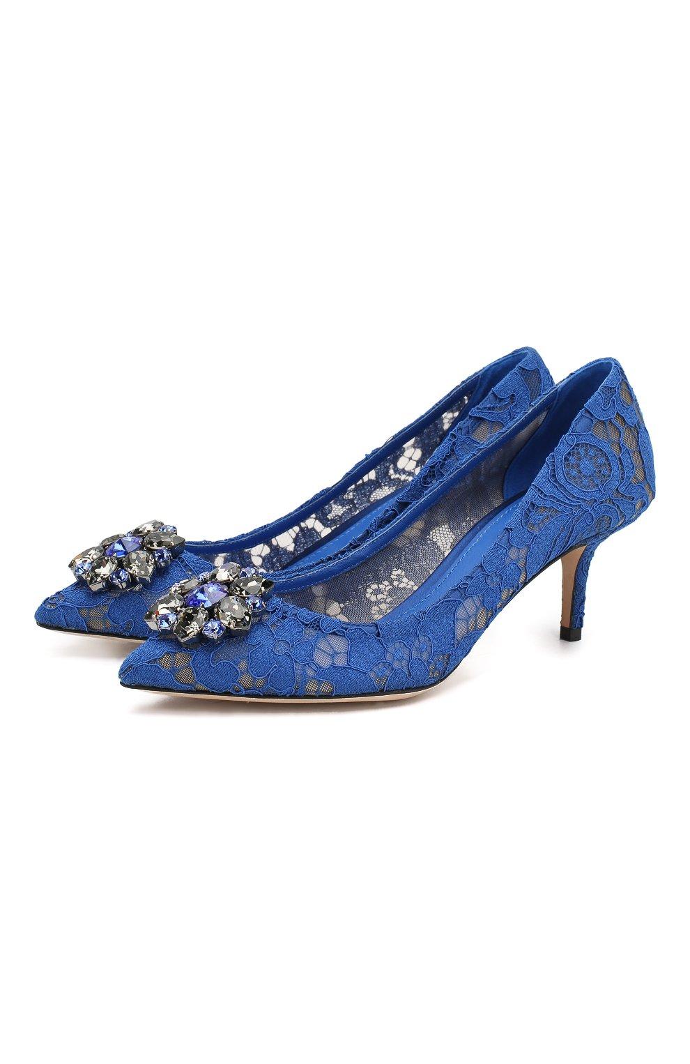 Женские текстильные туфли rainbow lace DOLCE & GABBANA синего цвета, арт. 0112/CD0066/AL198   Фото 1