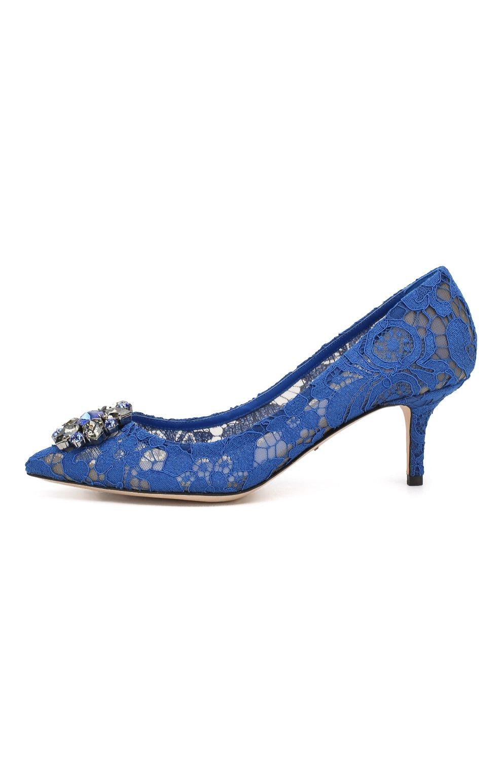 Женские текстильные туфли rainbow lace DOLCE & GABBANA синего цвета, арт. 0112/CD0066/AL198   Фото 3