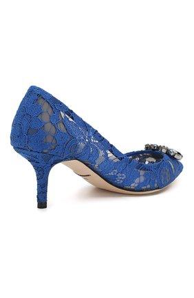 Женские текстильные туфли rainbow lace DOLCE & GABBANA синего цвета, арт. 0112/CD0066/AL198   Фото 4