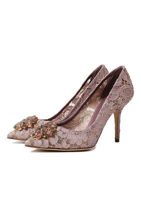 Женская текстильные туфли rainbow lace DOLCE & GABBANA розового цвета, арт. CD0101/AL198 | Фото 1