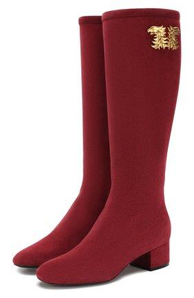 Женские замшевые сапоги valentino garavani maison gryphons VALENTINO бордового цвета, арт. TW2S0V35/MPL | Фото 1