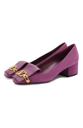 Замшевые туфли Valentino Garavani VLOGO | Фото №1