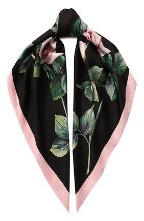 Женский шелковый платок DOLCE & GABBANA черного цвета, арт. FN090R/GDS16   Фото 1
