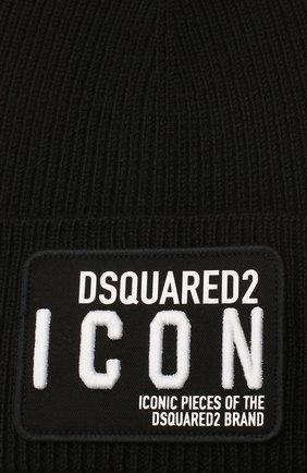 Мужская шерстяная шапка DSQUARED2 черного цвета, арт. KNM0001 01W02846 | Фото 3
