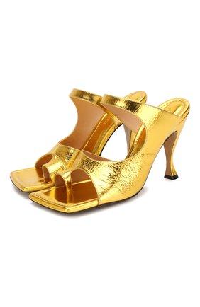 Женские кожаные мюли BOTTEGA VENETA золотого цвета, арт. 608834/VBSI0 | Фото 1