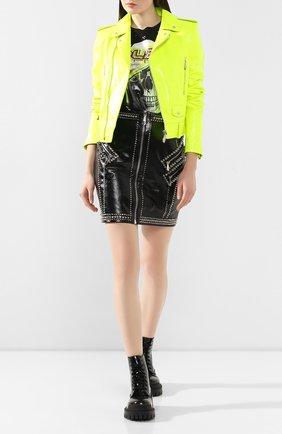 Женская кожаная куртка PHILIPP PLEIN желтого цвета, арт. S20C WLB0656 PLE010N | Фото 2