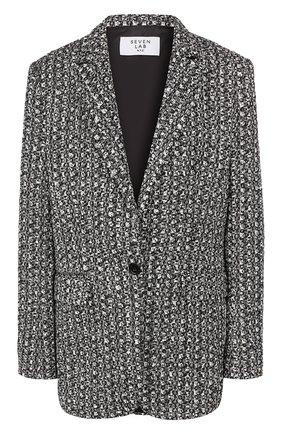 Женский жакет из вискозы SEVEN LAB черно-белого цвета, арт. JTW2 20-0 black/white | Фото 1