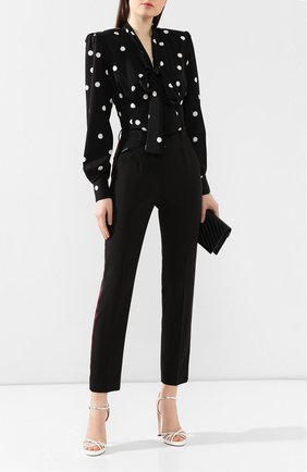 Женские брюки из смеси шерсти и шелка DOLCE & GABBANA черного цвета, арт. FTBPAT/FUBAJ | Фото 2