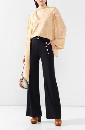 Женские шерстяные брюки CHLOÉ синего цвета, арт. CHC20SPA84062 | Фото 2