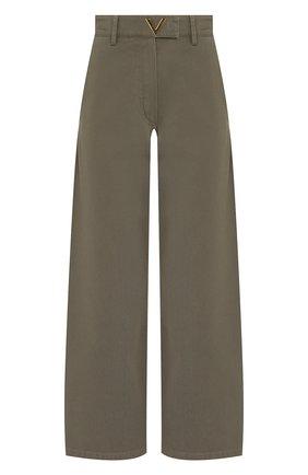 Женские хлопковые брюки VALENTINO хаки цвета, арт. TB3RB01I2Q9 | Фото 1