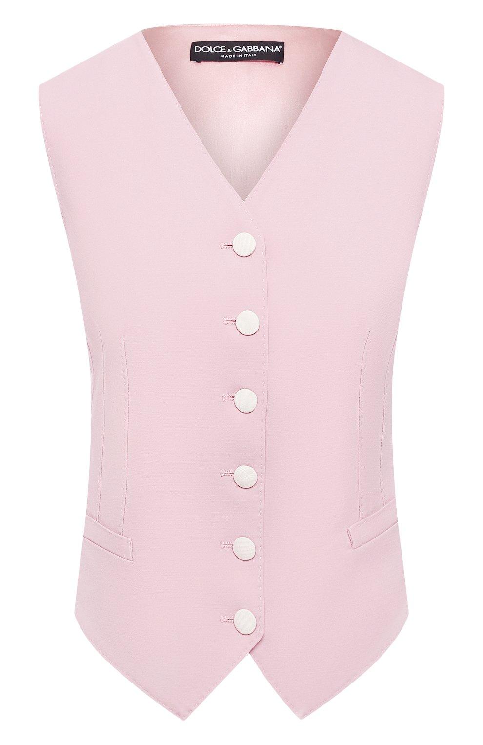Женский жилет из смеси шерсти и шелка DOLCE & GABBANA светло-розового цвета, арт. F79H6T/FUBAJ   Фото 1 (Материал внешний: Шерсть, Шелк; Женское Кросс-КТ: Жилет-одежда; Длина (верхняя одежда): Короткие; Материал подклада: Шелк; Статус проверки: Проверена категория)