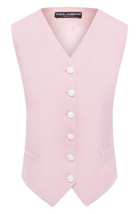 Женский жилет из смеси шерсти и шелка DOLCE & GABBANA светло-розового цвета, арт. F79H6T/FUBAJ | Фото 1