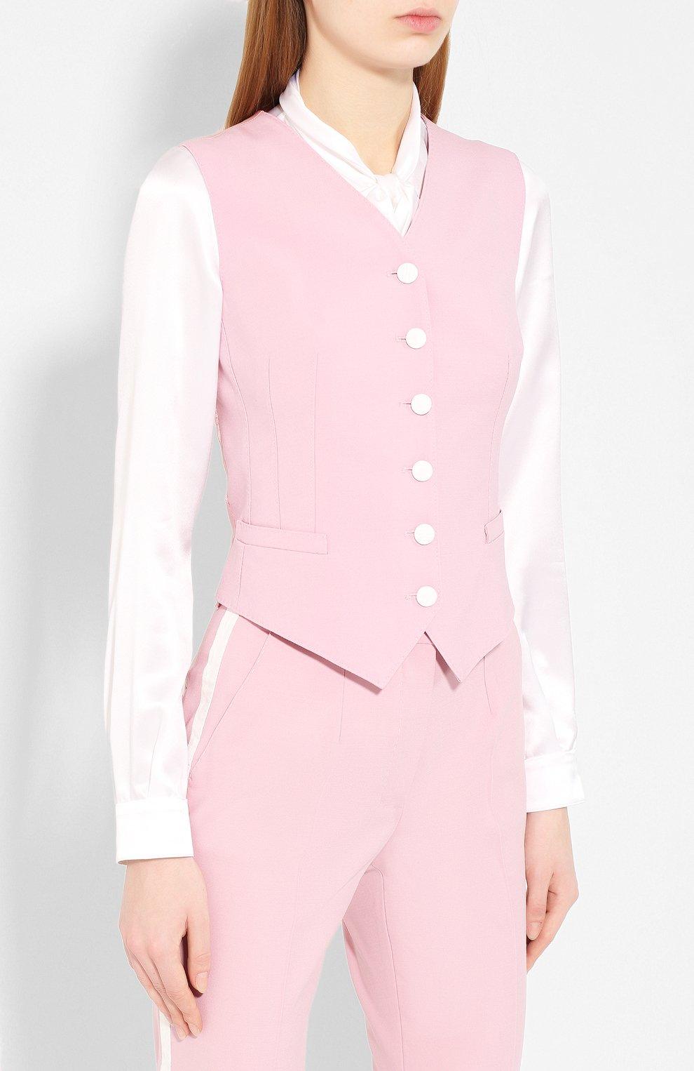 Женский жилет из смеси шерсти и шелка DOLCE & GABBANA светло-розового цвета, арт. F79H6T/FUBAJ   Фото 3 (Материал внешний: Шерсть, Шелк; Женское Кросс-КТ: Жилет-одежда; Длина (верхняя одежда): Короткие; Материал подклада: Шелк; Статус проверки: Проверена категория)
