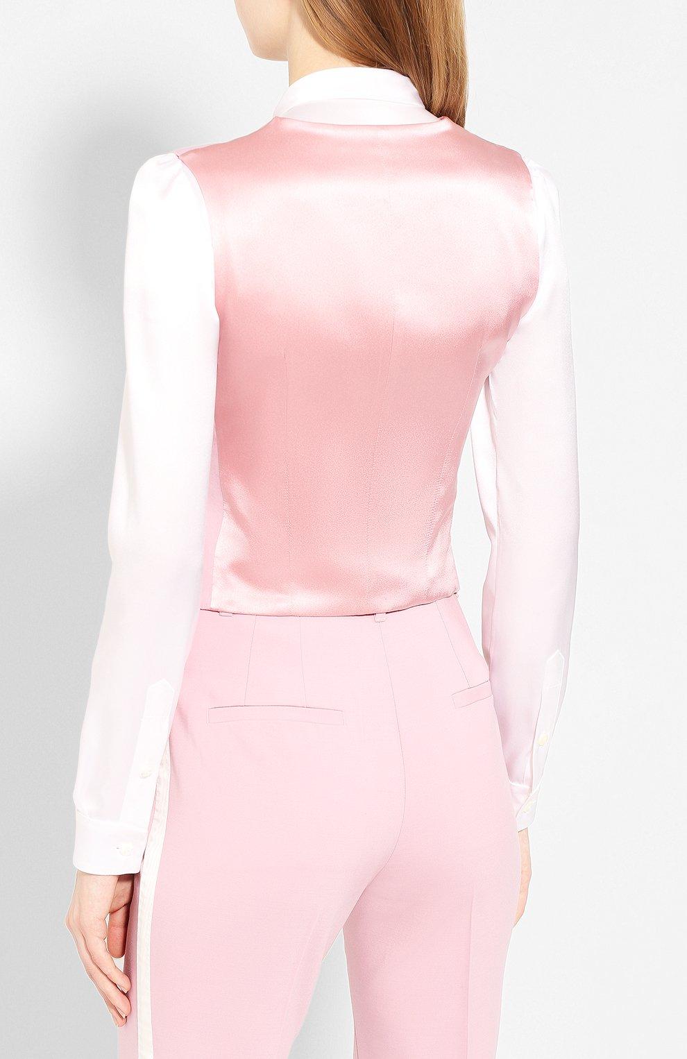 Женский жилет из смеси шерсти и шелка DOLCE & GABBANA светло-розового цвета, арт. F79H6T/FUBAJ   Фото 4 (Материал внешний: Шерсть, Шелк; Женское Кросс-КТ: Жилет-одежда; Длина (верхняя одежда): Короткие; Материал подклада: Шелк; Статус проверки: Проверена категория)