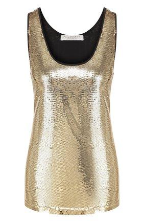 Женская топ с пайетками PHILOSOPHY DI LORENZO SERAFINI золотого цвета, арт. V0805/744 | Фото 1
