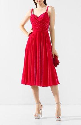 Женское бархатное платье DOLCE & GABBANA розового цвета, арт. F6G7RT/FUVKQ | Фото 2