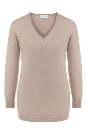 Женский пуловер из смеси кашемира и шелка IL BORGO CASHMERE бежевого цвета, арт. 51-542G0 | Фото 1 (Рукава: Длинные; Материал внешний: Шерсть, Шелк; Длина (для топов): Стандартные; Женское Кросс-КТ: Пуловер-одежда)