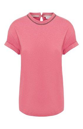 Женская хлопковая футболка BRUNELLO CUCINELLI розового цвета, арт. MH974BX210 | Фото 1