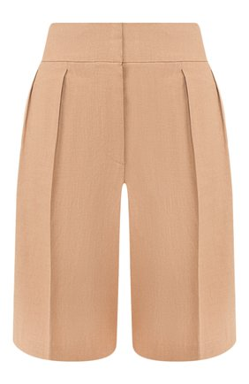 Женские шорты из смеси льна и хлопка BRUNELLO CUCINELLI бежевого цвета, арт. MF591P7262 | Фото 1