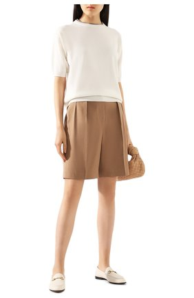 Женские шорты из смеси льна и хлопка BRUNELLO CUCINELLI бежевого цвета, арт. MF591P7262 | Фото 2