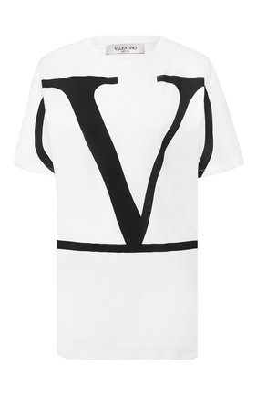 Женская хлопковая футболка VALENTINO белого цвета, арт. TB3MG01Z4Q6 | Фото 1