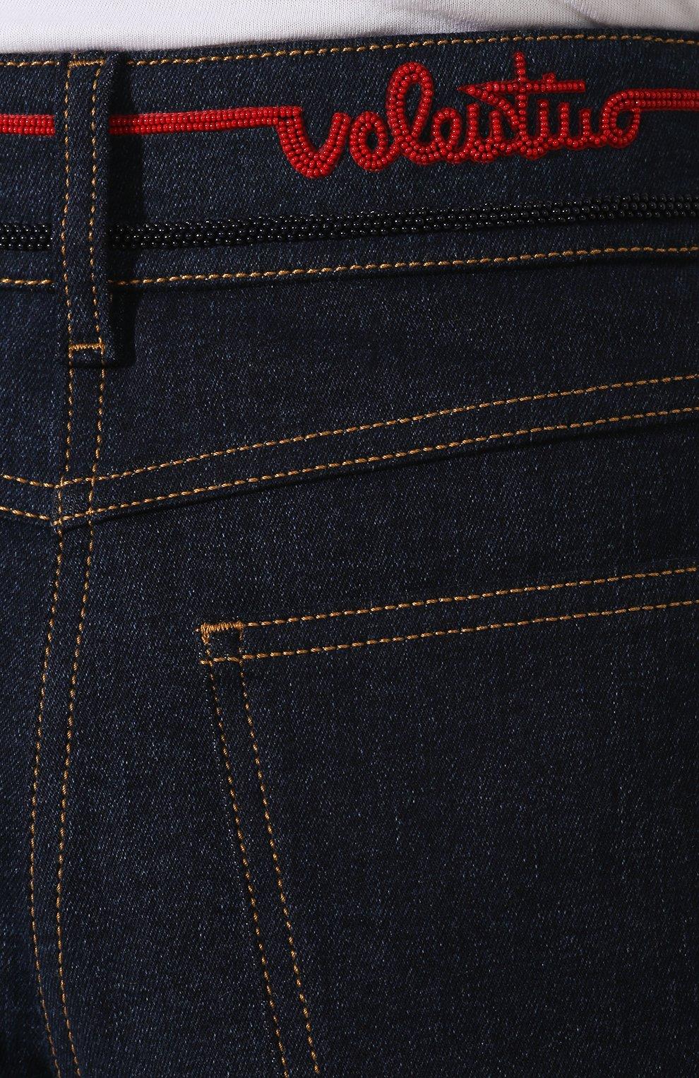 Женские джинсовые шорты VALENTINO синего цвета, арт. TB3DD09H55A   Фото 5 (Женское Кросс-КТ: Шорты-одежда; Кросс-КТ: Деним; Длина Ж (юбки, платья, шорты): Мини; Материал внешний: Хлопок; Стили: Кэжуэл; Статус проверки: Проверена категория)