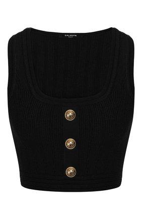 Женская топ из вискозы BALMAIN черного цвета, арт. TF10007/K030 | Фото 1
